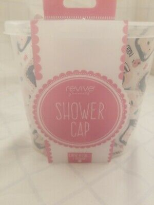 Revive Yourself Shower Cap - White, Pink, Blue, Gray w/ Bears with Bows & Birds