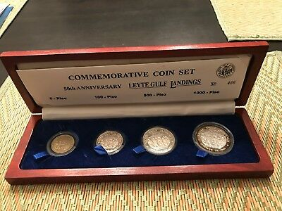 PHILIPPINES 1994 MACARTHUR LEYTE LANDING 50th ANNIVERSARY 4-COIN PROOF SET