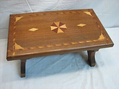 Fine Wooden Inlay Marquetry Foot Stool Bench Inlaid Wood Diamond
