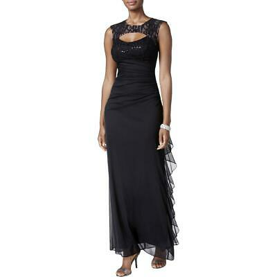 Betsy & Adam Womens Black Cut Out Sequined Evening Dress 8 BHFO 7271