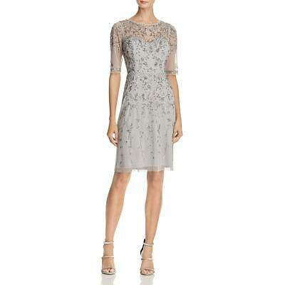 Adrianna Papell Womens Gray Chiffon Embellished Cocktail Dress 6 BHFO 4609