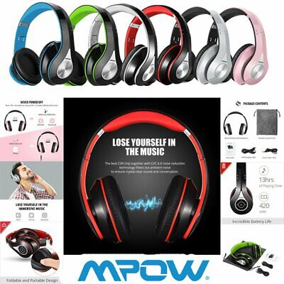 MPOW 059 Over-Ear Wireless & Wired Bluetooth Headphones Stereo HI-FI Headset MIC