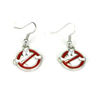 Ghostbusters Film Logo Symbol Sign 80s Slimer Round Silver Plated Drop Earrings
