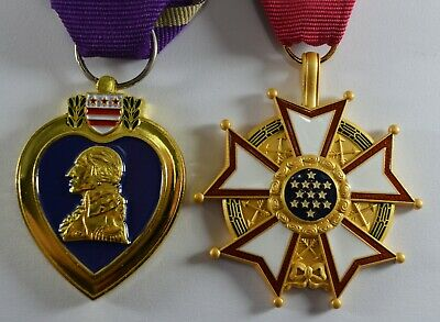 Pair of USA Military Service Medals. 24ct Gold Purple Heart, Legion of Merit