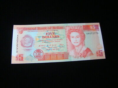 Belize 1990 $5.00 Banknote Gem Unc. Pick#53a Very Nice!!