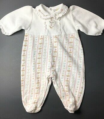 Vintage Infant Girl's Footed Sleeper Outfit Beach Birds Shells Size 6 Months