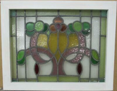 "MIDSIZE OLD ENGLISH LEADED STAINED GLASS WINDOW Colorful Floral 24.25"" x 19.25"""