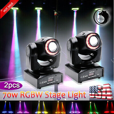 U`King 2PCS 70W Stage Lighting RGB LED DMX Moving Head DJ Disco Party Show Light