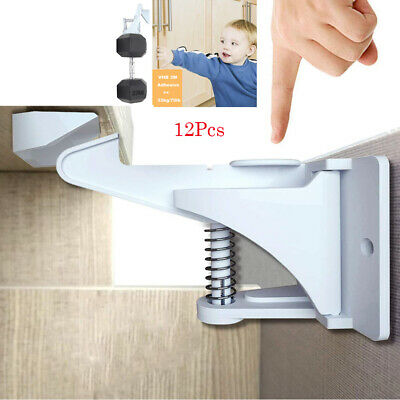 12X Baby Safety Locks Invisible Cupboard Kitchen Cabinets Proof Drawers Latches