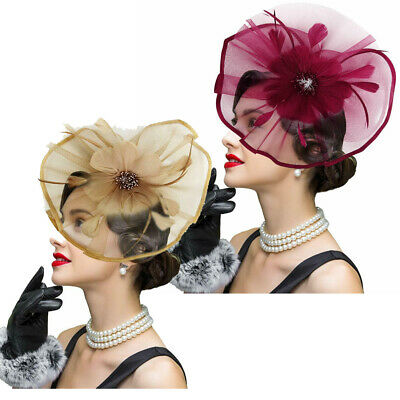 Women Fascinator Hat Lady Flower Feather Hair Clip Cocktail Headband Wedding UK