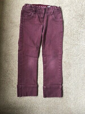 Monsoon Girls Trousers Age 5-6 Years Maroon Denim Jeans