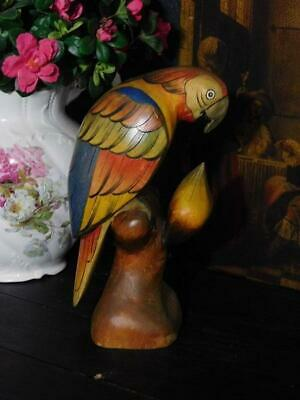 A Delightful Vintage Antique Hand Painted Carved Wooden Parrot
