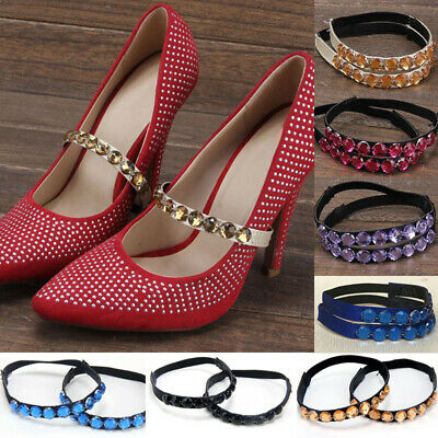 Women's PU Leather Rhinestones Round Elastic Band Strap High Heel Shoe Accessory