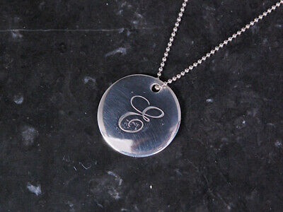 Tiffany & Co. Authentic Notes Disc Necklace Initial Letter E Sign Peretti SV925