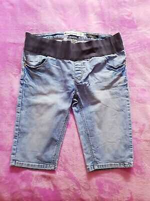 New Look maternity Size 10/EUR 38 under bump knee length denim shorts Light Blue