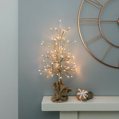60cm Plug In Indoor LED Light Up Gold Christmas Twig Tree | Table Decoration