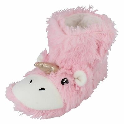 X2R111 Spot On Girls Novelty Warm Fluffy Unicorn Indoor House Bootee Slippers