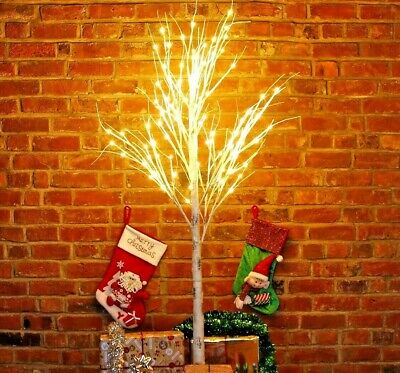 Christmas Birch Tree With Warm White LED Lights Pre Lit Twig 60cm 4ft 5ft 6ft
