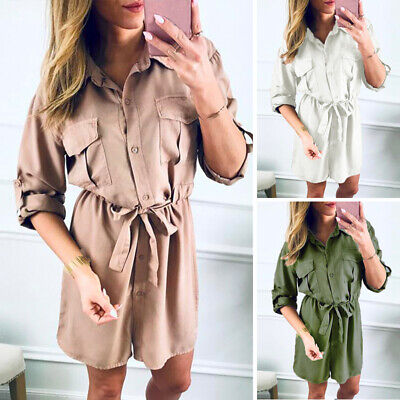 Women's Dress Ladies Summer Dress Casual Autumn Solid Long Sleeve Mini