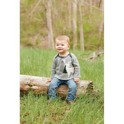 Mud Pie H7 Christmas Baby Boy Gray Stag All-In-One Crawler 1032388 Choose Size