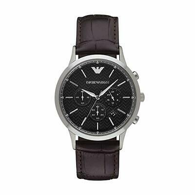 *BRAND NEW* Armani Emporio Men's Black Dial Brown Leather Watch AR2482