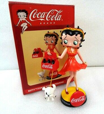 Betty Boop Skirt Blowing with Dog Pudgy Coca-Cola 2004 Vandor Bobble Figurine