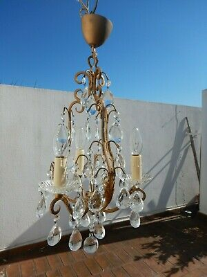 Antique Small Chandelier Cage Brass Metal Pampilles 3 Fire