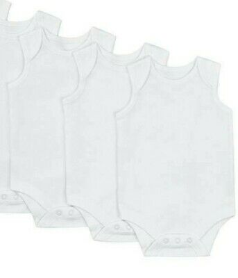 John Lewis Cotton Sleeveless Bodysuit 3 Pack / White Early Baby New with Defect