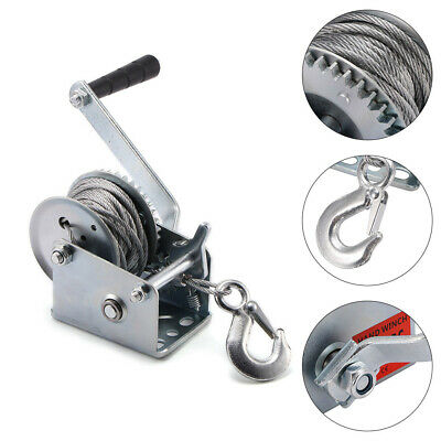 Manual Hand Winch 600lbs Boat Trailer 8m Steel Strap Marine Puller Lifting Sling
