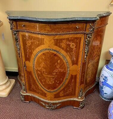French Empire Style Cabinet Commode, Marble Top, Ormolu Brass Trim