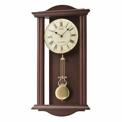 Westminster/Whittington Dual Chime Wall Clock With Pendulam - Brown (Qxh072B)