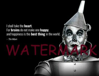 """WIZARD OF OZ """"I SHALL TAKE THE HEART FOR BRAINS"""" TIN MAN Jack Haley QUOTE PHOTO"""