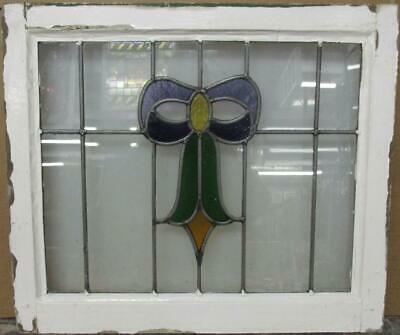 "MIDSIZE OLD ENGLISH LEADED STAINED GLASS WINDOW Pretty Bow Design 22.5"" x 19.5"""