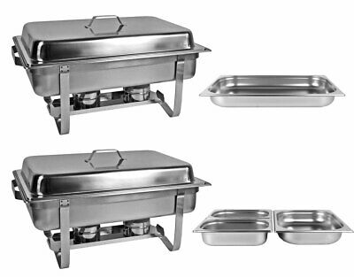 2 x Chafing Dish Food Warmer 4 Gn Inserts Heat Hot Counter
