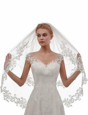 White Ivory Wedding Bridal Veils With Comb Hips Fingertip Length 2 T Lace Edge