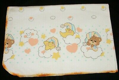 Vintage Teddy Beddy Bear Moon Star Clouds Flannel Receiving Baby Blanket