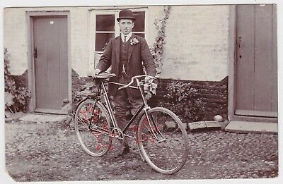 Original Old Real Photo Postcard Man & early bicycle w. carbide lamp circa 1910