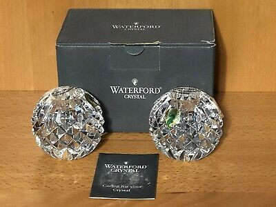 2 Waterford Crystal Round Faceted Ball Candlestick Candle Taper Holders 2.5""