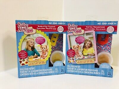 Baby Alive Super Snacks Treat Time & Noodles & Pizza Reusable Doll Food New