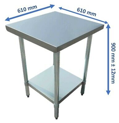 NEW 430 Stainless Steel Kitchen Benches Work Bench Food Prep Table 610x610mm