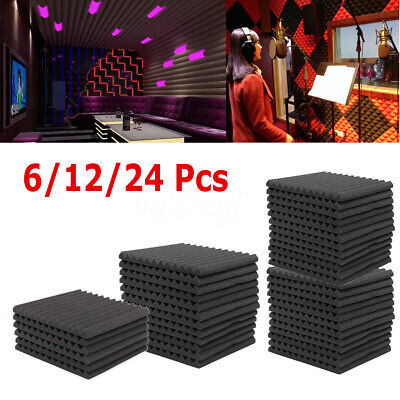 6/12/24Pcs Acoustic Wall Panels Sound Proofing Foam Pads Studio Soundproofing