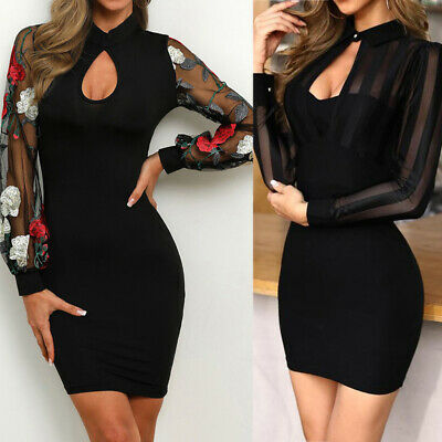 Women Long Sleeve Sexy Sheer Floral Mesh Patchwork Bodycon Casual Work Dress UK