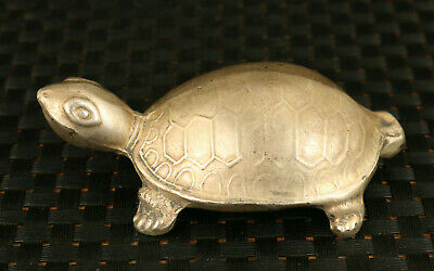 chinese old Tibet silver hand carved tortoise statue figure noble ornament gift