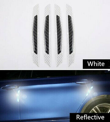 4x White Reflective Warning Strips Car Bumper Reflector Stickers Decals Safety