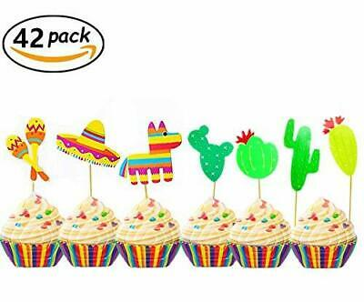 42 Pcs Jevenis Fiesta Cupcake Toppers Mexican Fiesta Party