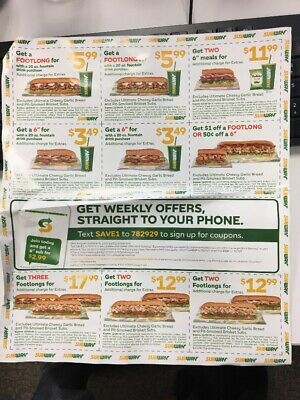 Burger King, Wendy's and Subway coupons