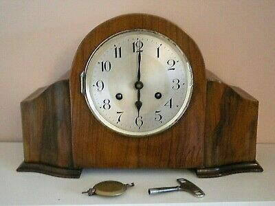 Vintage walnut Art Deco striking grand mantle clock with key and pendulum