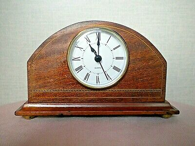 Vintage Edwardian inlaid wood mantle clock. New Quartz movement and brass feet