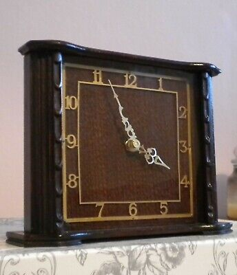 Vintage 1920s Art Deco wooden mantle clock with modern battery quartz movement