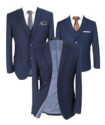 Designer Men's & Boys Jefferson Matching Slim Fit Navy Blue Skinny Business Suit